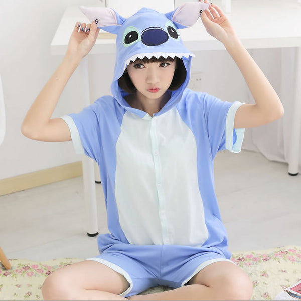 Summer Short Sleeve Adult Pajama Sets Cosplay Cartoon Panda Stitch Onesies Lovely Animal Pajamas Party Women Pajama - Hespirides Gifts - 16