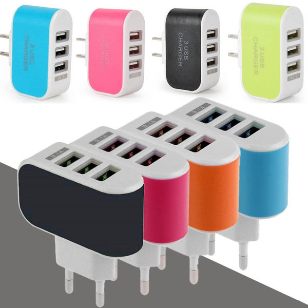 EU/US Plug 3.1A Wall Charging Adapter For Samsung iPhone HTC Nokia LG 3 USB Port - Hespirides Gifts