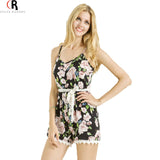 Jumpsuit Summer Women Sleeveless Spaghetti Strap Floral Lace Sash Loose Casual Backless Romper Playsuit - Hespirides Gifts - 1