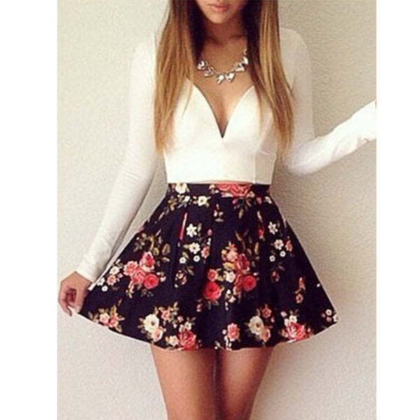 Spring Women's Clothing New Arrivals Europe Fashion Lone Sleeve Sexy Women Dresses Floral V-Neck Dress Female S20253 - Hespirides Gifts - 3