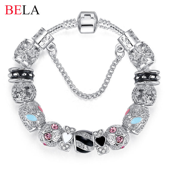 Bracelets For Women Silver Crystal Beads Bracelet Snake Chain Charms Bracelets Fit Original Bracelet Bangle Authentic Jewelry 49 - Hespirides Gifts
