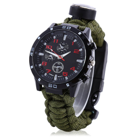 2016 New Arrival Multifuctional Survival Paracord Bracelet Scraper Whistle Thermometer Flint Fire Starter Gear Bangle Watch - Hespirides Gifts