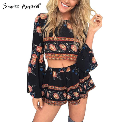 Simplee Apparel Boho print beach elegant jumpsuit romper Summer style backless sexy playsuit Women two piece short overalls - Hespirides Gifts - 1