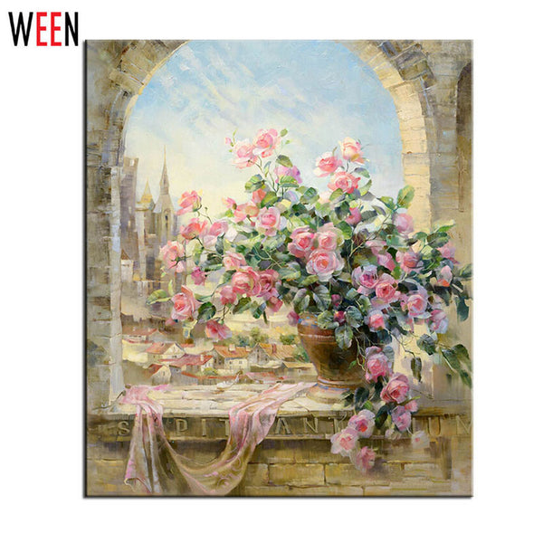 Frameless Window Flowers Scene DIY Painting By Numbers Kits paintings for living room wall Coloring Painting By Numbers - Hespirides Gifts