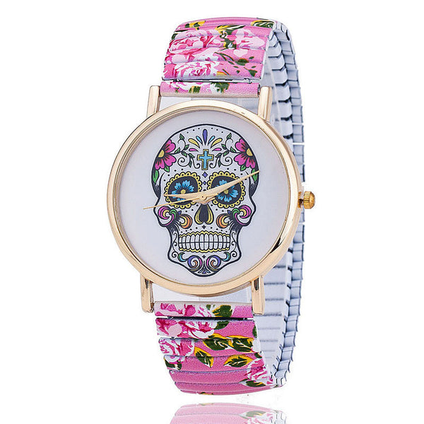 Skull Quartz Wrist Watch for Lady Gift With Flower Pattern on Band China Post Airmail - Hespirides Gifts - 4