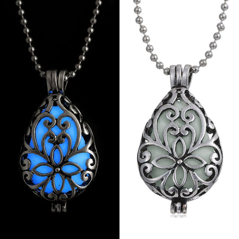 Glowing Luminous Vintage Necklaces Steampunk Pretty Magic Waterdrop Locket Glow In The Dark Pendant Necklace Gift - Hespirides Gifts