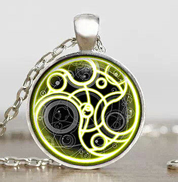 Steampunk UK drama doctor who gold line time lord Necklace 1pcs/lot bronze / silver Glass Pendant jewelry dr who chain iron man - Hespirides Gifts - 2