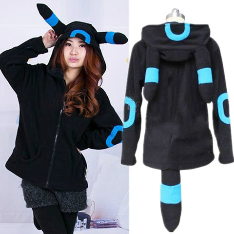 Pokemon Shiny Umbreon Women Men Zip Hoodie with Ears Tails Cosplay Costume Hoody Jacket Coat Outwear Hooded Sweatshirt - Hespirides Gifts - 1