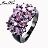 JUNXIN Pink Sapphire Black Gold Filled CZ Ring Unique Vintage Party Wedding Rings For Women Fashion Jewelry Bague Femme RB0022 - Hespirides Gifts - 1
