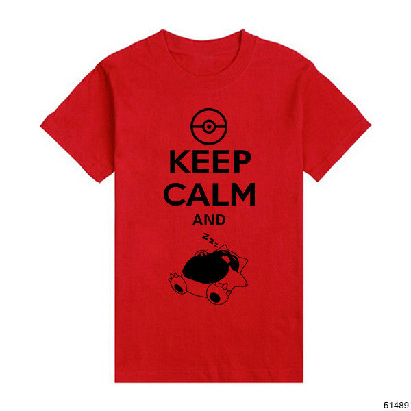 Men T Shirts New Cotton Keep Calm And Carry On Snorlax Sleep On Pokemon Design Tees Male Fashion Short Sleeve Tshirts