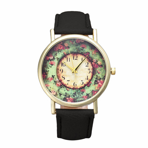 New Floral Printed Women Watches Leather Analog Quartz Dial Wrist Watch Men Casual Girl Dress Reloj Mujer Relojes Hombre - Hespirides Gifts - 2