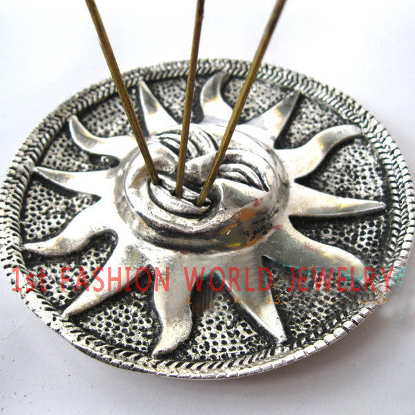 Tibetan Incense Burner Holder - The SUN- 3 Slot for Incense Sticks -9.5cm Diameter ping - Hespirides Gifts