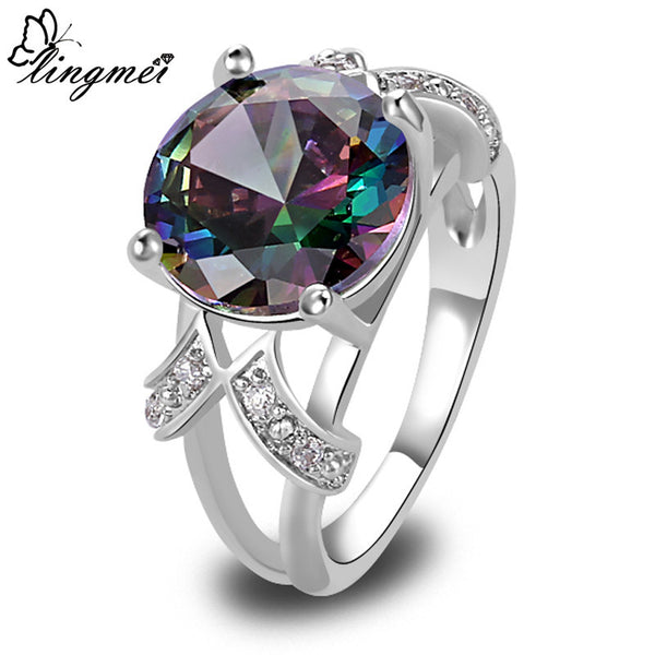 lingmei Mystic Rainbow Topaz Multi-Color AAA Silver Ring Fashion Women Jewelry Size 6 7 8 9 10 11 12 13 Wholesale - Hespirides Gifts