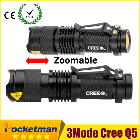 high-quality Mini Black CREE 2000LM Waterproof LED Flashlight 3 Modes Zoomable LED Torch penlight - Hespirides Gifts