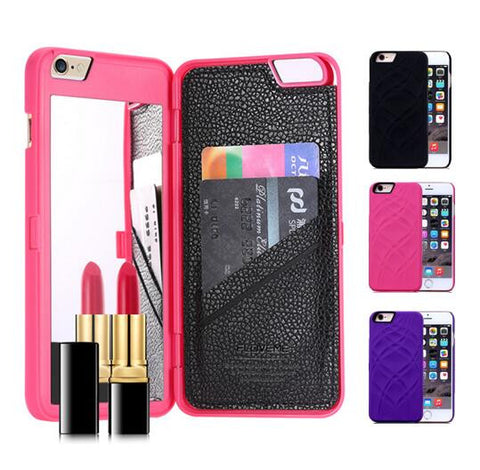 New High Quality Luxury Lady make up 3D Dual Layer Card Slot Wallet Mirror Case cover For iPhone 6 6S 6 Plus 6S + 4.7 5.5 inch - Hespirides Gifts - 1