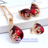 New Fashion 18k Gold Plated Jewelry Clear Resin Crystal Peacock Bridal Wedding Jewelry Sets ST062 - Hespirides Gifts - 2