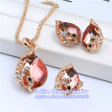 New Fashion 18k Gold Plated Jewelry Clear Resin Crystal Peacock Bridal Wedding Jewelry Sets ST062 - Hespirides Gifts - 5