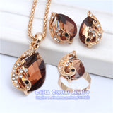 New Fashion 18k Gold Plated Jewelry Clear Resin Crystal Peacock Bridal Wedding Jewelry Sets ST062 - Hespirides Gifts - 7