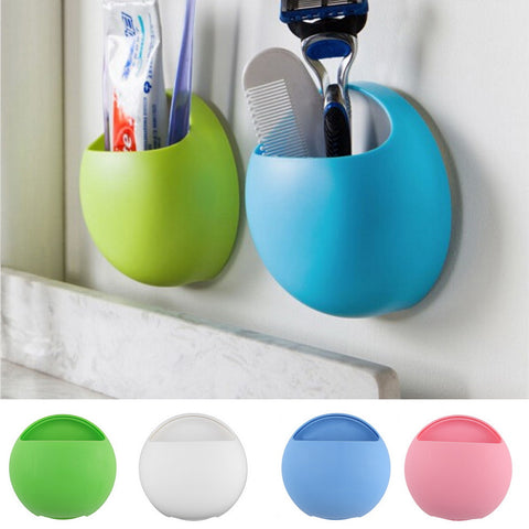 Toothbrush Holder Bathroom Kitchen Family Toothbrush Suction Cups Holder Wall Stand Hook Cups Organizer - Hespirides Gifts - 1