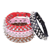 Punk Style Spiked Pet Dog Collar Round Bullet Nail Rivet Studded Collar Neck Strap Pitbull Collar PU Leather Pet roducts - Hespirides Gifts - 1