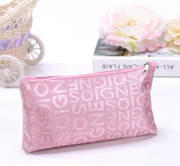 Women Portable Cute Multifunction Beauty Zipper Travel Cosmetic Bag Letter Makeup Case Pouch Toiletry Organizer Holder - Hespirides Gifts - 4