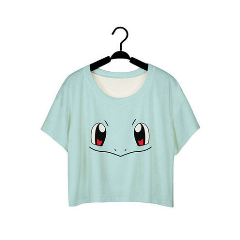 SexeMara Cartoon Turtle Pokemon Printed Partten Short Sleeve Dew Navel Crop Tops Sexy Fitness Blue T shirts Women Vest Tops F963 - Hespirides Gifts - 5