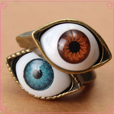 Classic Vintage Evil Eye Finger Ring Eyeball Punk Goth Jewellery Halloween Gift - Hespirides Gifts
