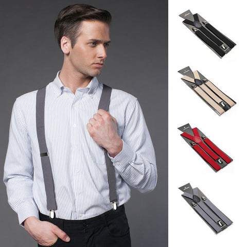 Fashion Women Men's Unisex Clip-on Braces Elastic Slim Suspender 1Inch Wide 36 colors Y-Back Suspenders Male Pants Jeans Braces - Hespirides Gifts - 1