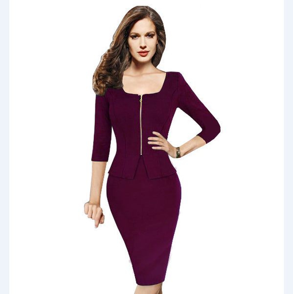 Nice-forever Vintage work 5XL Women Tunic Pencil Dress charming 3/4 sleeve office dress elegant knee length bandage dress 898 - Hespirides Gifts - 4