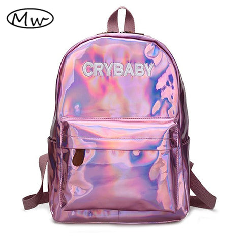 Moon Wood Harajuku Embroidery Letters Crybaby Hologram Laser Backpack Women Soft PU Leather Backpack School Bags For Girls