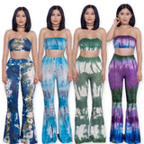 Fashion Summer 2 Pieces Jumpsuit Set Sexy Long Flare pants Strapless Crop Tops High Waist Wide Leg Pants Printed Rompers - Hespirides Gifts - 1