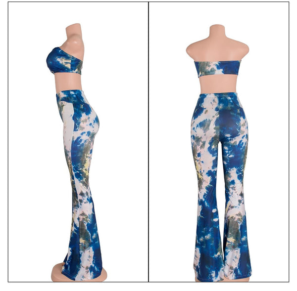 Fashion Summer 2 Pieces Jumpsuit Set Sexy Long Flare pants Strapless Crop Tops High Waist Wide Leg Pants Printed Rompers - Hespirides Gifts - 2