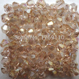 Light Colors 100pcs 4mm Bicone Austria Crystal Beads charm Glass Beads Loose Spacer Bead for DIY Jewelry Making - Hespirides Gifts - 1