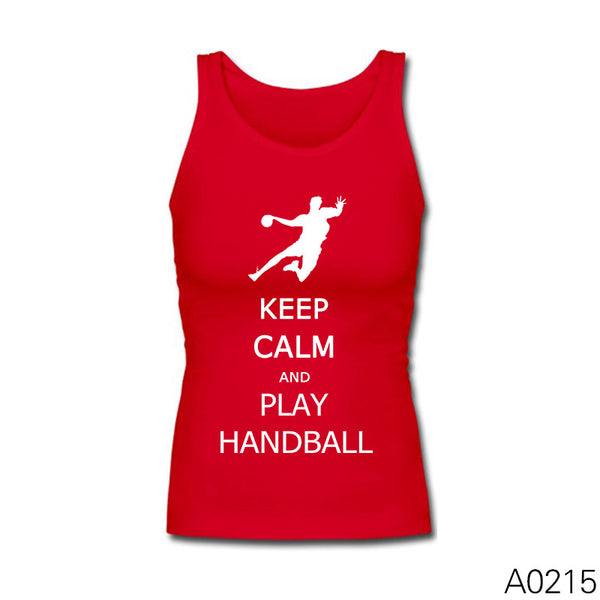 Keep Calm And Play Handball Sleeveless Shirts Fashion Summer Cotton Tank Tops for Girl Longer Length Vests - Hespirides Gifts - 2