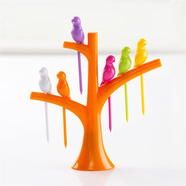 Easy Bird Fruit Snack Dessert Forks+ Tree Shape Holder For Party Home Decor Hall - Hespirides Gifts - 5