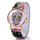 Skull Quartz Wrist Watch for Lady Gift With Flower Pattern on Band China Post Airmail - Hespirides Gifts - 3