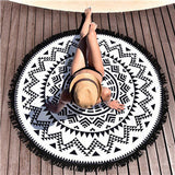 Round Hippie Tapestry Beach Throw Roundie Mandala Towel Yoga Mat Bohemian Featur Table Cloth Yoga Mat U6701
