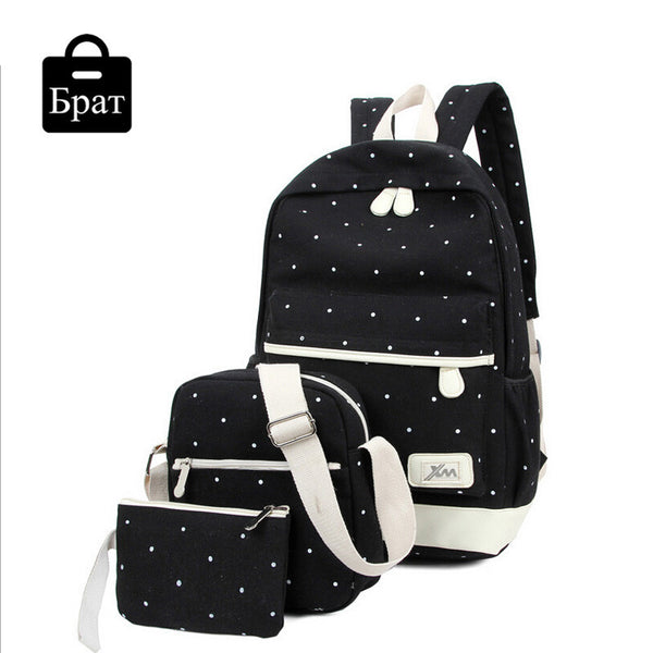 New casual women backpack canvas Korean school bags travel backpacks for teenage girls preppy style dots women bag set - Hespirides Gifts - 3