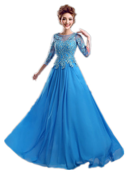 Blue Party Gown New Fashion Bride Sweet Embroidery Plus Size Mother Of The Bride Long Prom Dress Formal Dress Evening Dress - Hespirides Gifts - 1