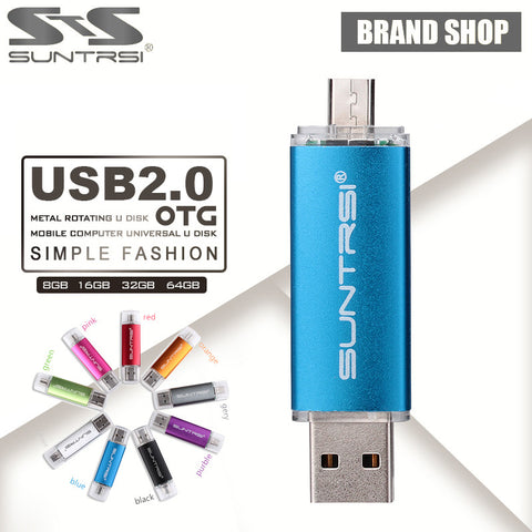 Suntrsi OTG USB Flash Drive 64GB USB Pen Drive 16GB 8GB Pen Drive OTG external Micro USB Stick Memory Stick USB 2.0 Flash Card - Hespirides Gifts