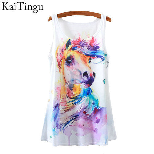 KaiTingu New Fashion Vintage Spring Summer Women Sleeveless Print Horse Painting Printed T Shirt Tee Blouse Vest Tank Tops - Hespirides Gifts