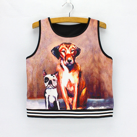 Brother Dogs printed women crop tops fashion design summer dress new Vogue style girls cropped tanks low price wholesale - Hespirides Gifts - 1