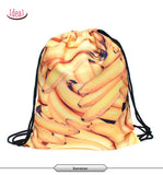 In stock Teenager food escolar daily drawstring backpack 3D printing travel softback man women mochila feminina bag backpacks - Hespirides Gifts - 2