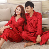 Faux silk mens pajama sets men sleepwear male sleep&lounge Chinese red wedding Pijamas for women couple pajamas female pyjamas - Hespirides Gifts - 1