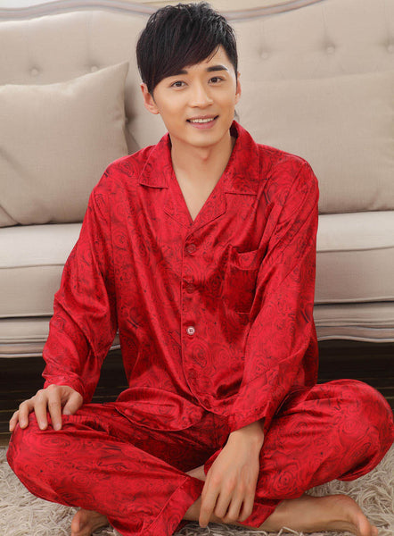 Faux silk mens pajama sets men sleepwear male sleep&lounge Chinese red wedding Pijamas for women couple pajamas female pyjamas - Hespirides Gifts - 3