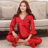 Faux silk mens pajama sets men sleepwear male sleep&lounge Chinese red wedding Pijamas for women couple pajamas female pyjamas - Hespirides Gifts - 2