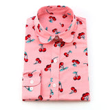 Dioufond Cotton Print Women Blouses Shirts Work Collar Office Ladies Tops Casual Cherry Long Sleeve Shirt Women Fashion Clothing - Hespirides Gifts - 5