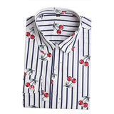 Dioufond Cotton Print Women Blouses Shirts Work Collar Office Ladies Tops Casual Cherry Long Sleeve Shirt Women Fashion Clothing - Hespirides Gifts - 2