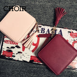 Top quality Square women coin purses holders wallet,leather female money designer tassel wallets famous brand women wallet - Hespirides Gifts - 1