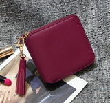 Top quality Square women coin purses holders wallet,leather female money designer tassel wallets famous brand women wallet - Hespirides Gifts - 2
